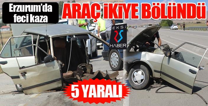Erzurum'da feci kaza... Araç ikiye bölündü: 5 yaralı