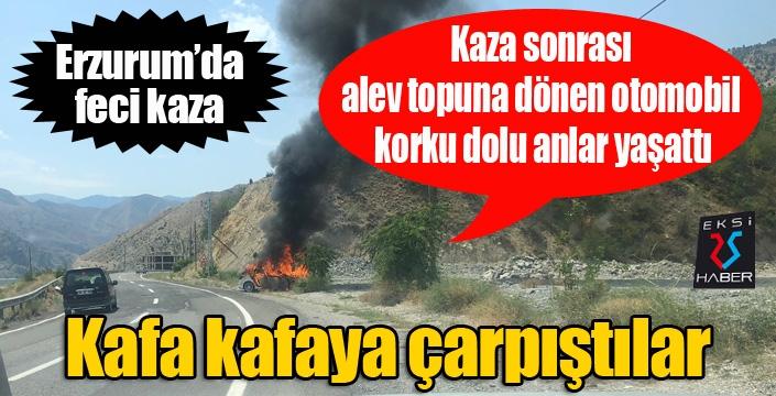 Erzurum'da feci kaza... Otomobil alev topuna döndü...
