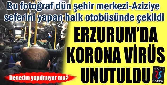 Erzurum'da halk otobüsü tıklım tıklım... Sosyal mesafe unutuldu...