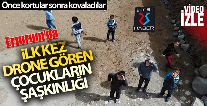 Erzurum'da ilk kez drone gören çocukların şaşkınlığı