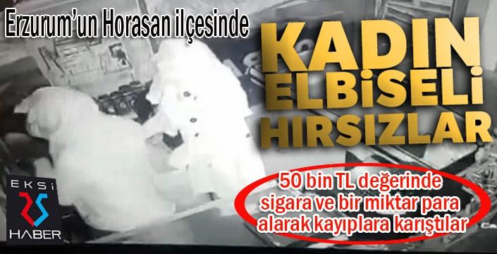 Erzurum'da Kadın elbiseli hırsızlar market soydu