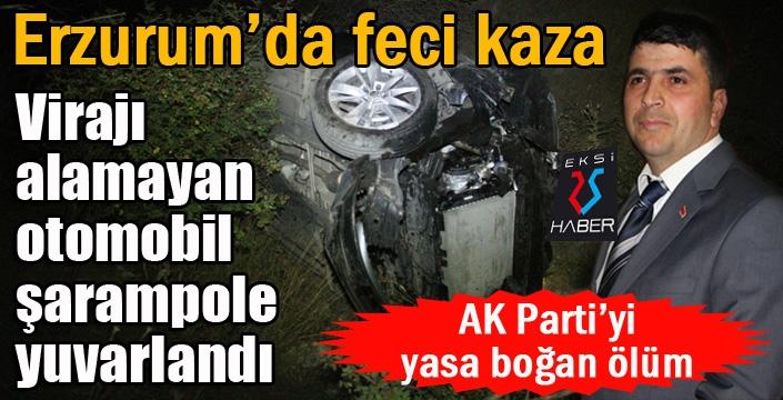Erzurum'da  Virajı alamayan otomobil şarampole yuvarlandı: 1 ölü