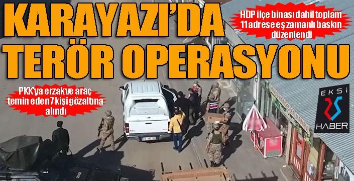 Jandarmadan HDP Karayazı İlçe binası dahil 11 adrese eş zamanlı operasyon