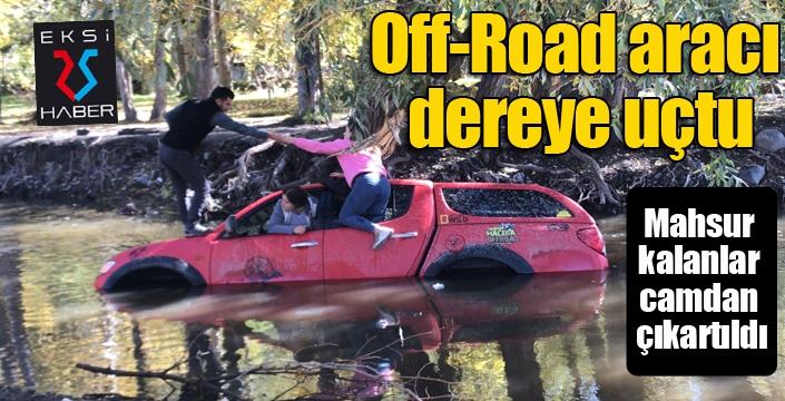 Off-Road aracı dereye uçtu, mahsur kalanlar camdan çıkartıldı