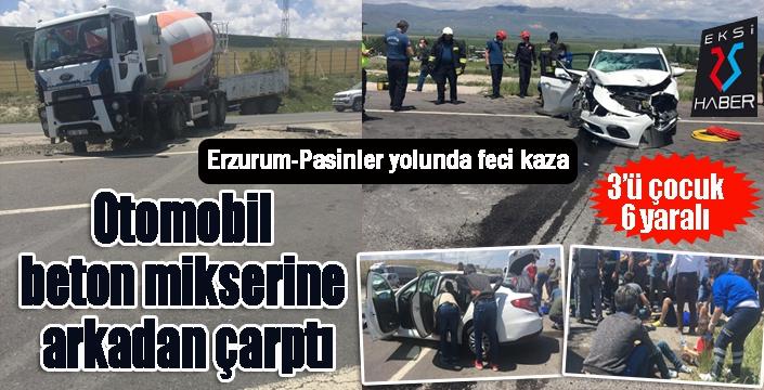 Otomobil, beton mikserine çarptı: 6 yaralı...