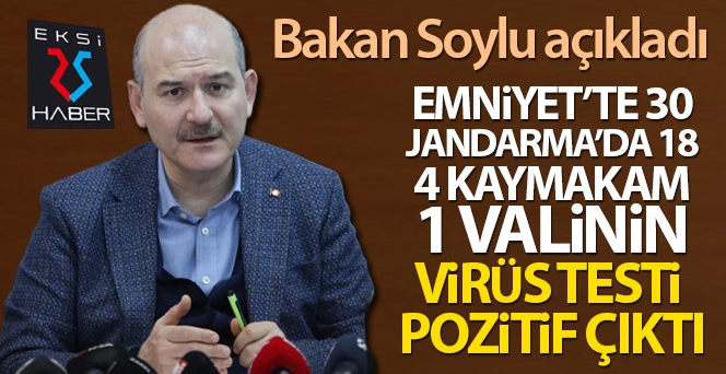 Soylu: 'Emniyet'te 30, Jandarma'da 18, 4 kaymakam ve bir valinin virüs testi pozitif çıktı