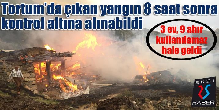 Tortum'da çıkan yangın 8 saat sonra kontrol altına alınabildi