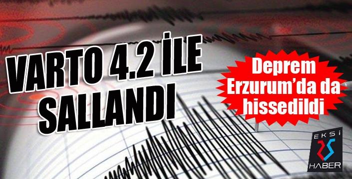 Varto 4.2 ile sallandı... Deprem Erzurum'da da hissedildi...